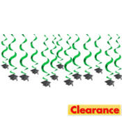 Green Hanging Swirl Graduation Decorations 24in 15ct
