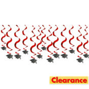Red Hanging Swirl Graduation Decorations 24in 15ct