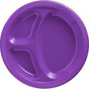 Purple Plastic Divided Dinner Plates 20ct