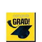 Congrats Grad Yellow Graduation Beverage Napkins 36ct