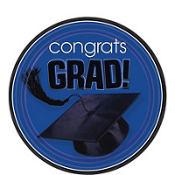 Congrats Grad Royal Blue Graduation Dessert Plates 18ct