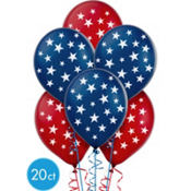 Patriotic Stars Printed Latex Balloons 12in 20ct