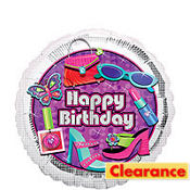 Foil Glitzy Girl Birthday Balloon 18in