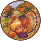 Festive Turkey Dinner Plates 8ct