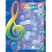Music Note Invitations 8ct