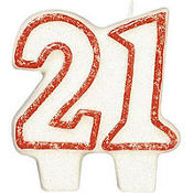 Red Outline Glitter Number 21 Birthday Candle