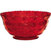 Red Glitter Plastic Punch Bowl 14in