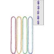 Multicolor Metallic Bead Necklaces 32in 6ct