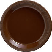Chocolate Brown Plastic Dinner Plates 20ct