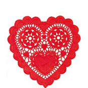 Red Heart Shaped Doilies 6in 20ct