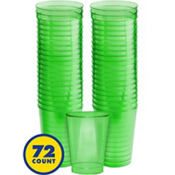 Transparent Green Plastic Tumblers 10oz 72ct