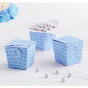 Blue Plaid Take-Out Style Favor Boxes 12ct