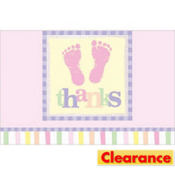 Pink Footprints Baby Shower Thank You Notes 8ct