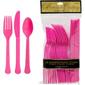 Bright Pink Premium Plastic Cutlery Set 24ct