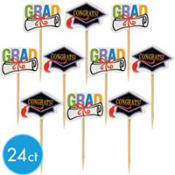 Congrats Grad Graduation Party Picks 24ct