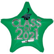 Class of 2012 Green Star Graduation Balloon 19in