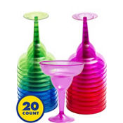 Assorted Color Plastic Margarita Glasses 20ct