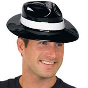 White Band Plastic Gangster Hat 4 1/2in x 7 3/4