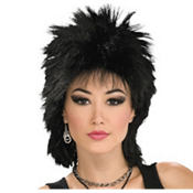 80's Black Rock Idol Wig