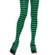 Adult Green and Black Striped Tights