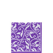 Purple Ornamental Scroll Beverage Napkins 16ct