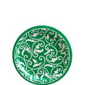 Festive Green Ornamental Scroll Dessert Plates 8ct