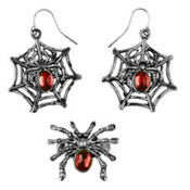 Gothic Gem Earrings and Ring Set