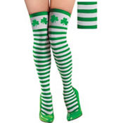 Adult Green and White Striped Thigh High Stockings with Shamrocks