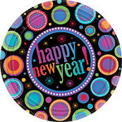Modern New Year's Dinner Plates 8ct