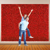 Red Metallic Floral Sheeting 15ft