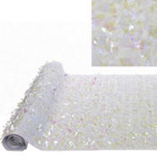 White Iridescent Floral Sheeting 15ft