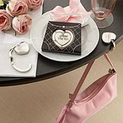 Heart Purse Valet Compact Stainless Steel Handbag Holder Wedding Favor