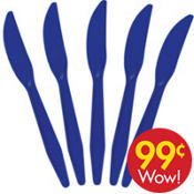Value Royal Blue Plastic Knives 20ct