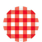 American Summer Red Gingham Dessert Plates 8ct
