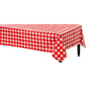 American Summer Red Gingham Vinyl Table Cover 52in x 70in