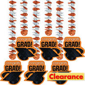 Orange Congrats Grad Graduation Dangling Cutouts 30in 6ct