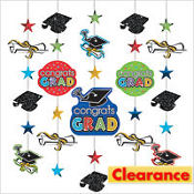 Glitter Multicolor Hanging Graduation Decorations 5ct