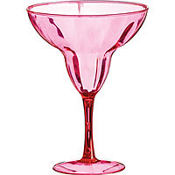 Pink Plastic Margarita Glass 9oz