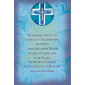 Joyous Cross Blue Custom Invitation