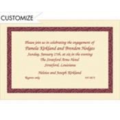 Red Moroccan Border/Ecru Custom Invitation