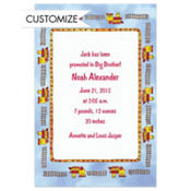 Choo-Choo Border Custom Birth Announcements