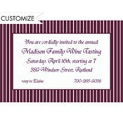 Aubergine Narrow Pinstripe Custom Invitation