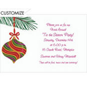 Green and Red Ornament Custom Invitation