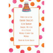 Girly Cake With Dots Custom Invitation