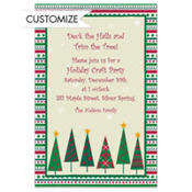 Mod Trees and Stripe Border Custom Invitation