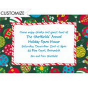 Colorful Tossed Ornaments Custom Invitation