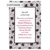 Black Grad Caps & Swirls Custom Graduation Invitation