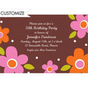 Dancing Pop Flowers Custom Invitation