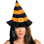 Orange & Black Felt Witch Hat