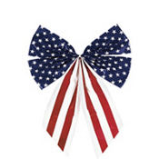 Star Spangled Plastic Flag Bow 16in